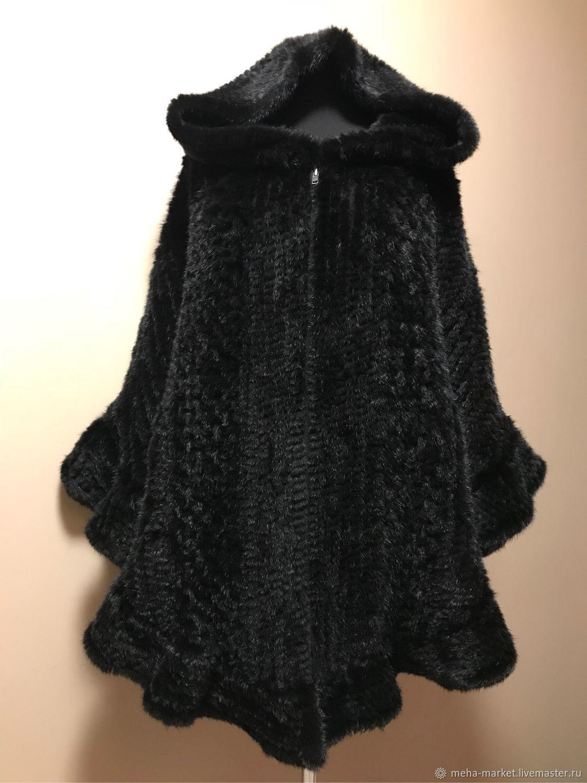 Knitted mink poncho 'Greek dream' black