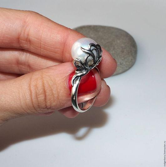 """Кольца ручной работы. Ярмарка Мастеров - ручная работа. Купить Серебряное кольцо """"Lily"""" жемчуг, серебро 925 пробы. Handmade."""