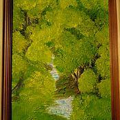 Картины и панно ручной работы. Ярмарка Мастеров - ручная работа Картина маслом пейзаж лесной ручей. Handmade.