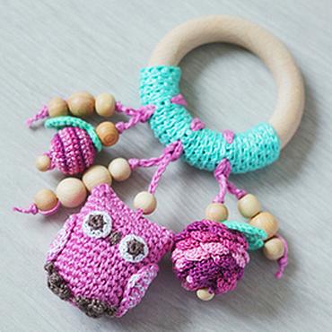 Dolls & toys handmade. Livemaster - original item Teether ring with owl mint-purple. Handmade.