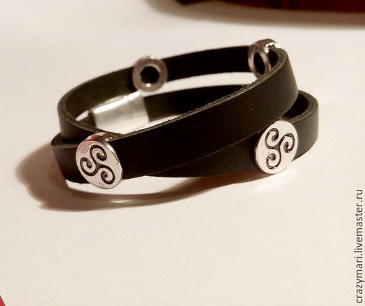 """Браслеты ручной работы. Ярмарка Мастеров - ручная работа. Купить Кожаный браслет """"Сashel"""". Handmade. Черный, кельтский узор"""