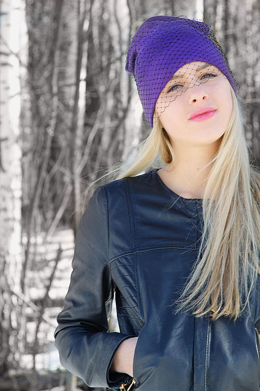 """Шапки ручной работы. Ярмарка Мастеров - ручная работа. Купить """"Фиолет""""(полушерть). Handmade. Шапочка с вуалью, фиолетовый"""