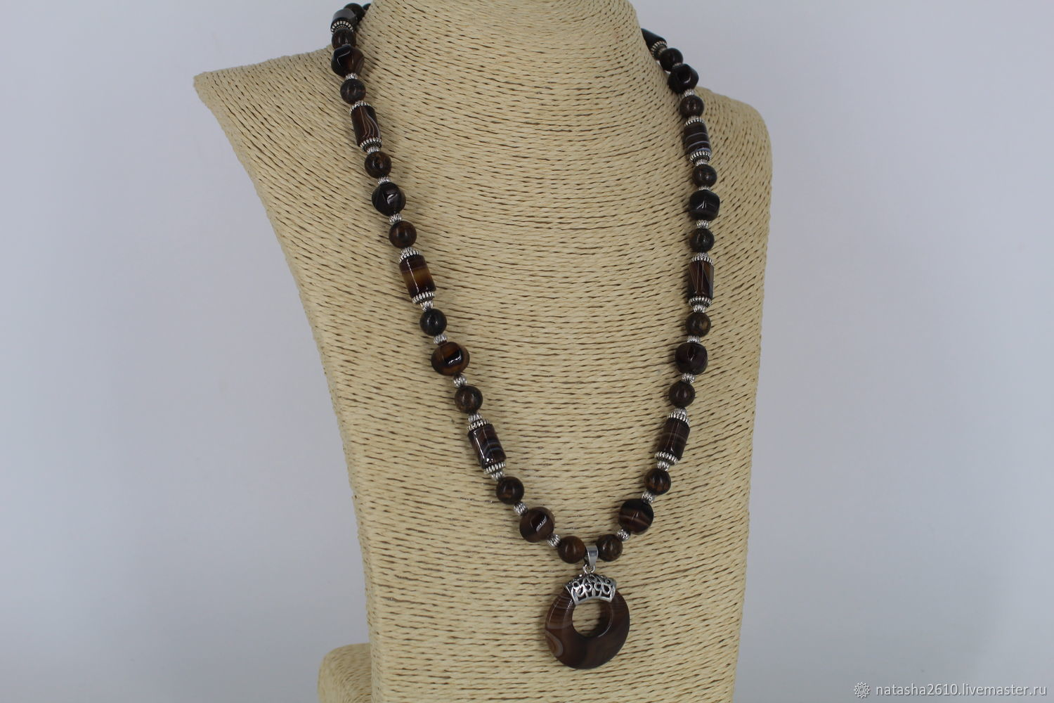 Necklace made of natural stones agate and bronze, Necklace, Velikiy Novgorod,  Фото №1