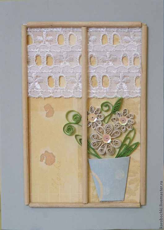 """Открытки на все случаи жизни ручной работы. Ярмарка Мастеров - ручная работа. Купить Открытка """"Ромашки в окне"""". Handmade. Ромашки, цветы"""