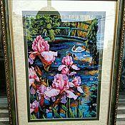"""Картины и панно ручной работы. Ярмарка Мастеров - ручная работа Вышитая крестиком картина """"Ирисы и лебедь"""".. Handmade."""