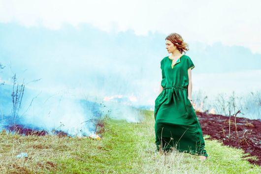 Платья ручной работы. Ярмарка Мастеров - ручная работа. Купить Изумрудный шелк - платье в пол. Handmade. Болотный, платье для выпускного