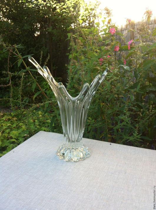 """Винтажная посуда. Ярмарка Мастеров - ручная работа. Купить Ваза """"Крылья птицы"""", художественное стекло, Голландия. Handmade. Ваза декоративная"""