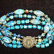 """Украшения ручной работы. Ярмарка Мастеров - ручная работа """"Лик воды"""" -  многорядный браслет из синего варисцита. Handmade."""