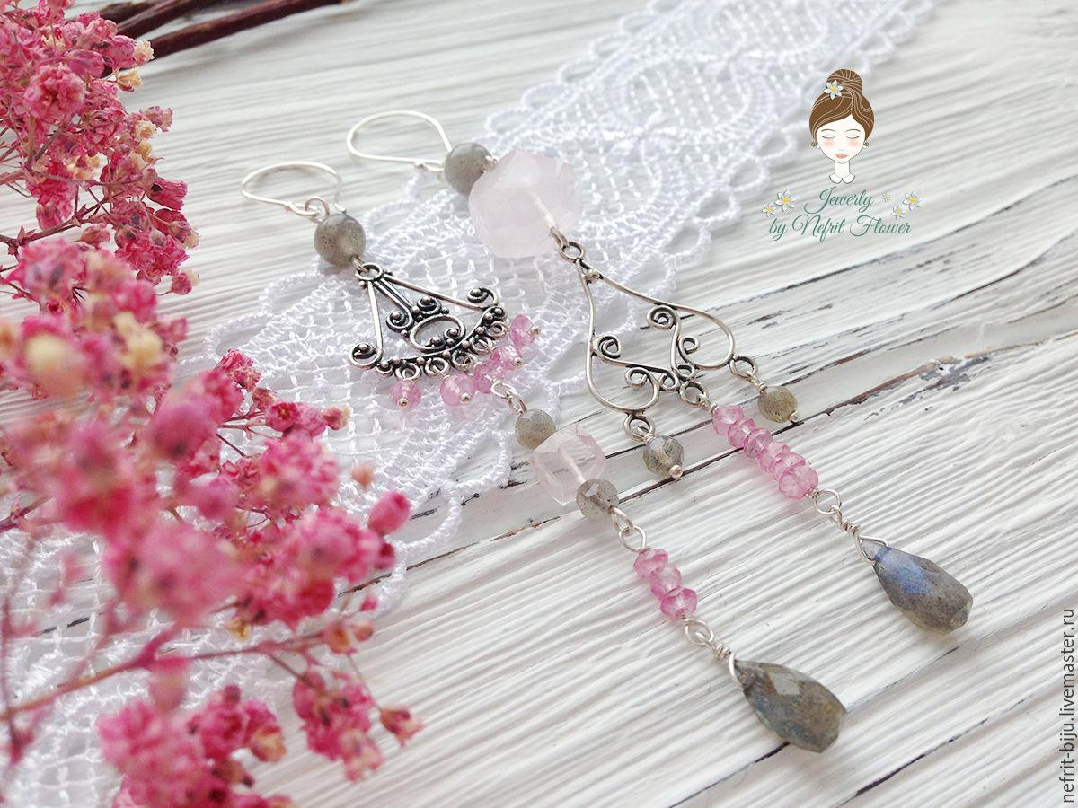 Asymmetric earrings 'Grey and pink' silver 925, Earrings, St. Petersburg,  Фото №1
