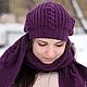 Фиолетовый, лиловый, аметист, сливовый, слива, баклажан, баклажановый, шапка женская, шапка вязанная, вязаная шапка, вязанная шапка, шапочка.