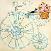 """Для дома и интерьера ручной работы. Ярмарка Мастеров - ручная работа Часы настенные """"Ретро велосипед"""". Handmade."""