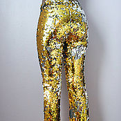 Одежда handmade. Livemaster - original item Golden pants with sequins. Handmade.