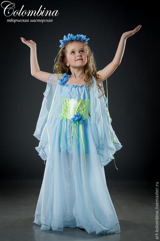 Детские карнавальные костюмы ручной работы. Ярмарка Мастеров - ручная работа. Купить Костюм весны. Handmade. Голубой, атлас