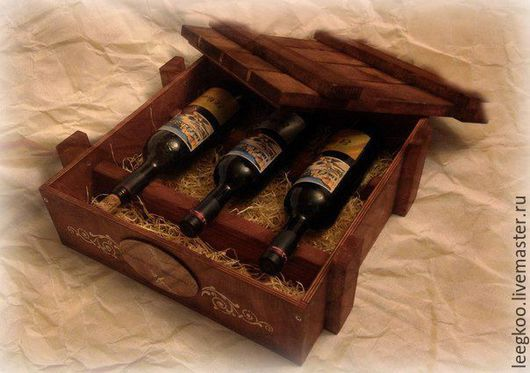 Корзины, коробы ручной работы. Ярмарка Мастеров - ручная работа. Купить Авторский короб для вина на 3 бутылки в технике decoupage. Handmade.