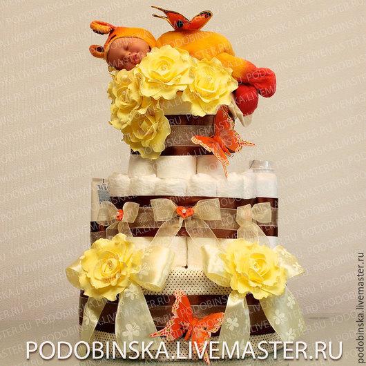 Что подарить на рождение ребенка? Торт из памперсов! Торт из подгузников `Солнечная бабочка`! Оригинальный подарок для новорожденного, на крещение, первый день рождения!