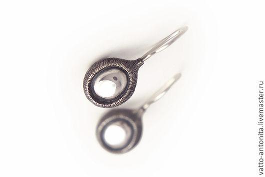 Серьги ручной работы. Ярмарка Мастеров - ручная работа. Купить серьги из серебра Око леса / лаконичные серьги серебро. Handmade.