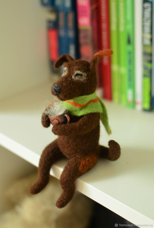 Felt toy Dog with tea, Felted Toy, Heidelberg,  Фото №1