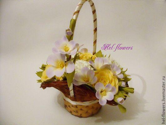 Цветы ручной работы. Ярмарка Мастеров - ручная работа. Купить Корзинка с цветами из фоамирана. Handmade. Бледно-сиреневый, цветы из фоамирана