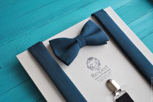 Комплекты аксессуаров ручной работы. Ярмарка Мастеров - ручная работа. Купить Темно зеленая галстук бабочка + Подтяжки темно-зеленые Погружение. Handmade.