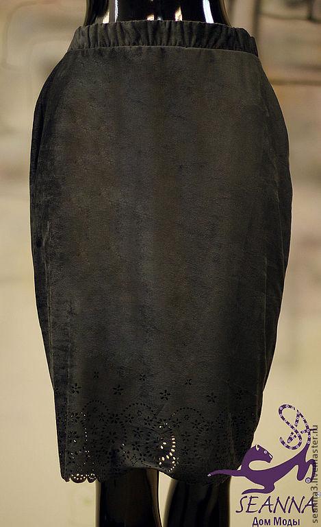 """Юбки ручной работы. Ярмарка Мастеров - ручная работа. Купить Юбка """"Графит 1"""" из замши-стрейч на подкладке. Handmade. Юбка"""
