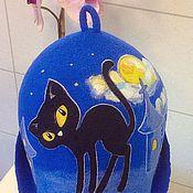 """Для дома и интерьера ручной работы. Ярмарка Мастеров - ручная работа Шапка банная """"Черная кошка при желтой луне"""" для Павла. Handmade."""