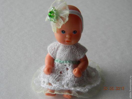 Одежда для кукол ручной работы. Ярмарка Мастеров - ручная работа. Купить Платьице на мини куколку. Handmade. Белый, вискоза 100%