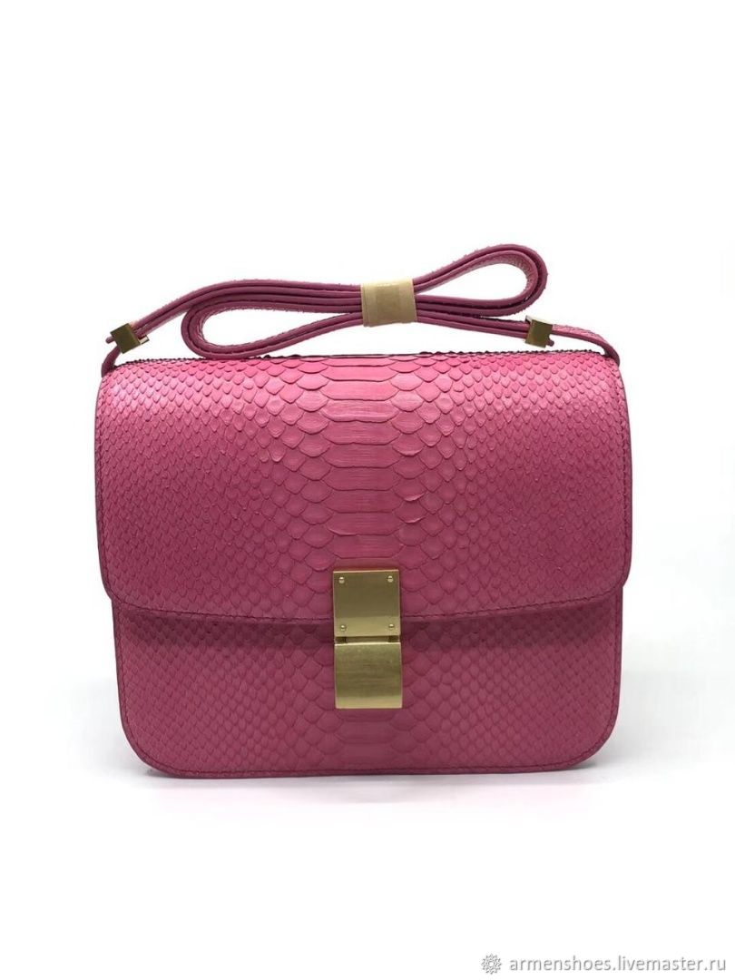 Women's bag, made of genuine Python leather, in pink!, Crossbody bag, Tosno,  Фото №1
