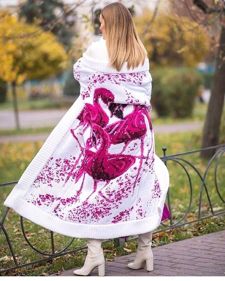 "Кардиган вязаный ""фламинго""  из итальянской шерсти, Кардиганы, Тюмень,  Фото №1"
