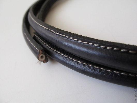 Для украшений ручной работы. Ярмарка Мастеров - ручная работа. Купить Шнур 10х5 простроченный, черный. Handmade. Черный, кожа