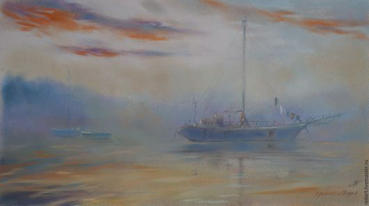 Пейзаж ручной работы. Ярмарка Мастеров - ручная работа. Купить Рассветный туман. Handmade. Голубой, туманное утро, яхта, лодки