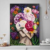 Картины и панно handmade. Livemaster - original item oil painting Girl with flowers. Painting in the living room with flowers. Handmade.
