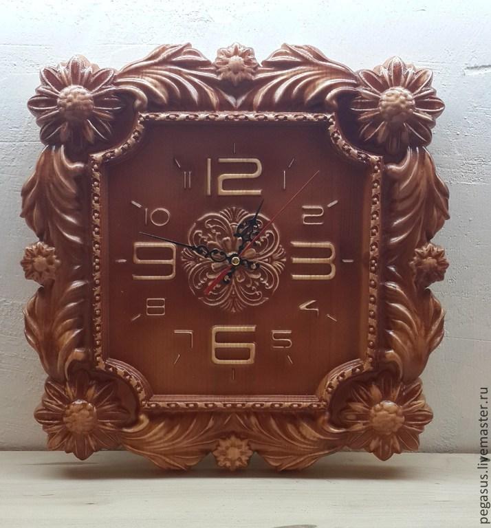 Часы для дома ручной работы. Ярмарка Мастеров - ручная работа. Купить Хризантемы  часы настенные. Handmade. Резьба, подарок