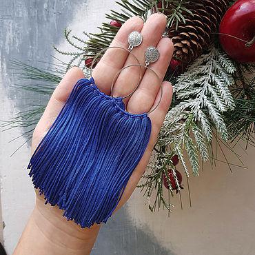 Украшения ручной работы. Ярмарка Мастеров - ручная работа Серьги с бахромой синие. Handmade.