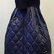 """Одежда ручной работы. Ярмарка Мастеров - ручная работа Юбка теплая стеганая ассиметрия в складку """"Синие льдинки"""". Handmade."""