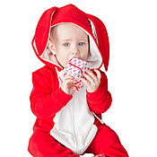 Работы для детей, handmade. Livemaster - original item Rompers FUNKY Red Bunny RED BUNNY HOMESUIT KIDS. Handmade.