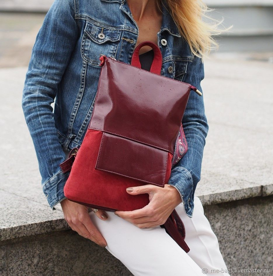 Toledo mini.  Burgundy backpack of patent leather and suede, Backpacks, St. Petersburg,  Фото №1