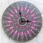Для дома и интерьера handmade. Livemaster - original item Mandala Wall Clock Grey with Pink. Handmade.
