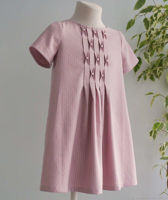 Детское платье розовое в полоску с буфами и бусинками