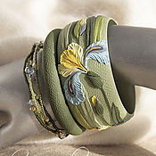 Украшения handmade. Livemaster - original item A set of Blue irises bracelets from polymer clay. Handmade.