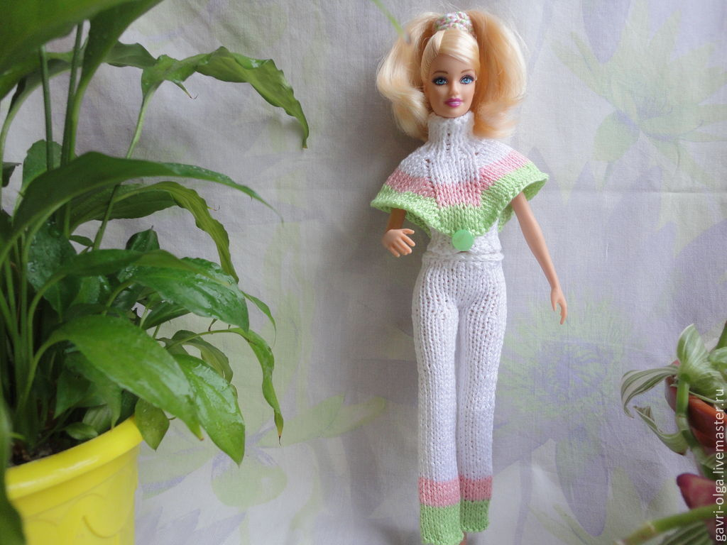 Брюки вязание барби