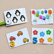 Куклы и игрушки ручной работы. Ярмарка Мастеров - ручная работа ЛАМИНИРОВАННЫЕ карточки для счёта. Handmade.