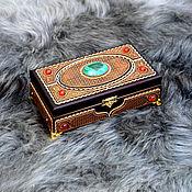 Для дома и интерьера handmade. Livemaster - original item Rectangle casket with amber and malachite on the legs. Handmade.