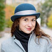 Аксессуары handmade. Livemaster - original item Hat bowler hat unisex. Color Prussian blue. Handmade.