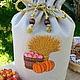 """Кухня ручной работы. Ярмарка Мастеров - ручная работа. Купить Льняной мешочек для хлеба """" Богатый урожай"""". Handmade."""