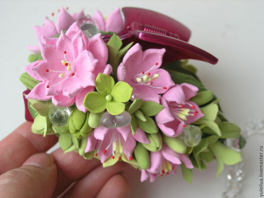 """Заколки ручной работы. Ярмарка Мастеров - ручная работа. Купить Заколка-краб """"Розовый лучик"""". Handmade. Розовый, подарок девушке"""