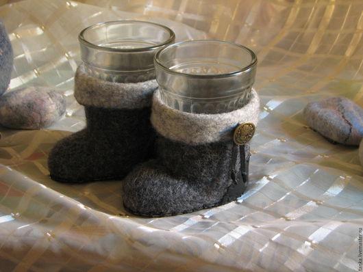 Кухня ручной работы. Ярмарка Мастеров - ручная работа. Купить Валенки-подстаканники. Handmade. Подстаканник, оригинальный подарок, сувениры из шерсти