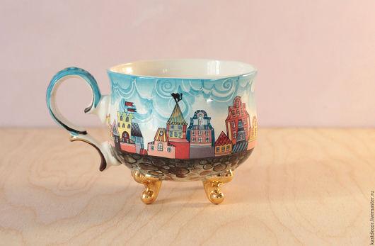 """Кружки и чашки ручной работы. Ярмарка Мастеров - ручная работа. Купить Чашка фарфоровая """"Рига"""". Handmade. Комбинированный, чашка для чая"""
