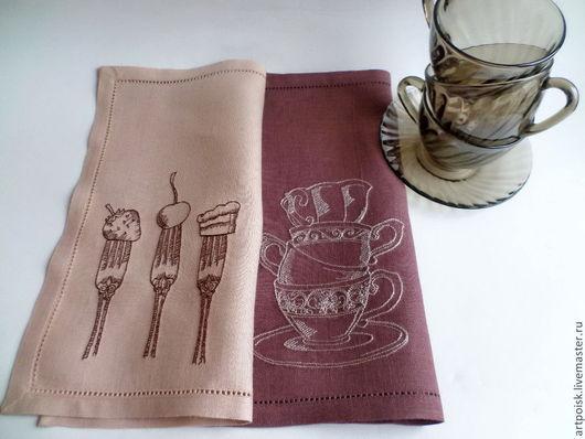 Кухня ручной работы. Ярмарка Мастеров - ручная работа. Купить Салфетки с вышивкой Чай и десерт. Handmade. Салфетки с вышивкой