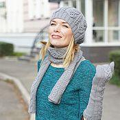 Аксессуары ручной работы. Ярмарка Мастеров - ручная работа Вязаный комплект Milk gray шапка, шарф и удлиненные варежки. Handmade.