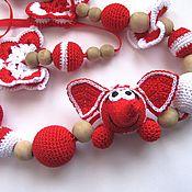 """Одежда ручной работы. Ярмарка Мастеров - ручная работа Вязаные слингобусы с игрушкой """"Слон и бабочки"""" красные с белым. Handmade."""